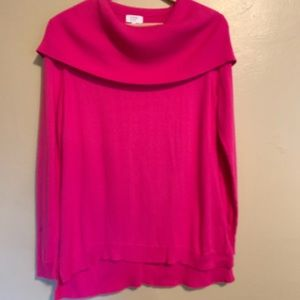 Crown & Ivy | Bright Pink Cowl Neck Sweater | M